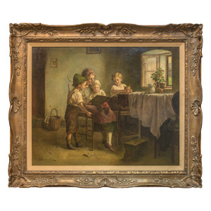 A Fine Oil on Canvas Painting of a Mother Giving Reading Lessons by Edmund Adler