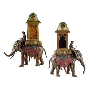 A Fine Pair of Cold Painted Austrian Bronze Elephant with his Mahout and a Howdah by Franz Bergman
