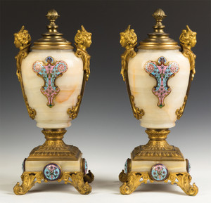 A Fine Quality Pair of Gilt Bronze and Cloisonné Enamel Onyx Urns and Cover