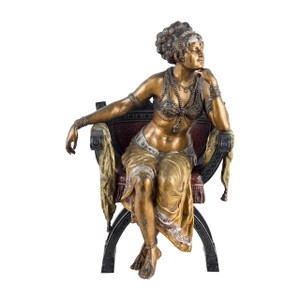A Fine Austrian Cold-painted Bronze Figure of a Seated Exotic Dancer by Franz Bergman
