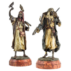 A Fine Austrian Cold-painted Bronze Figures of Arab Hunters by Franz Bergman