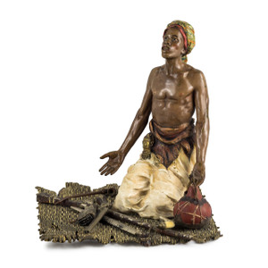 A Fine Austrian Cold-painted Bronze Figures of Arab Man at Prayer by Franz Bergman