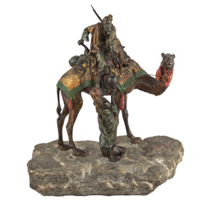 A Fine Austrian Cold-painted Bronze Figures Depicting an Arab on a Camel Fetching Water From a Woman by Franz Bergman