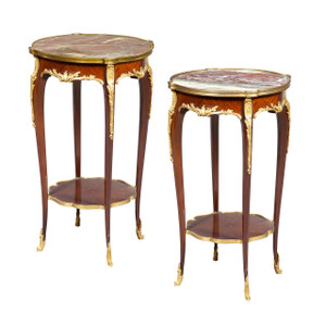 A Fine Quality Pair of Louis XVI-style Marble-top Side Table