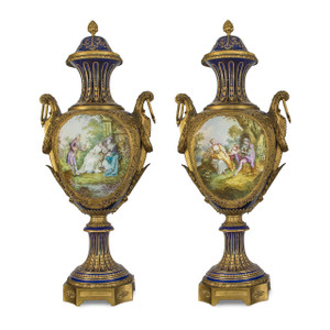 A Fine Quality Pair of Sevres-style Porcelain Vases