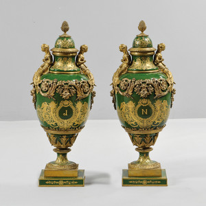 A Fine Quality Pair of Sevres-style Porcelain Urns and Cover