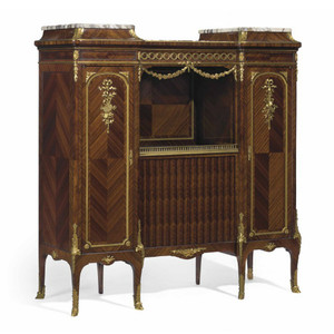 French Gilt Bronze-Mounted Brèche Violette Marble-Top Side Cabinet