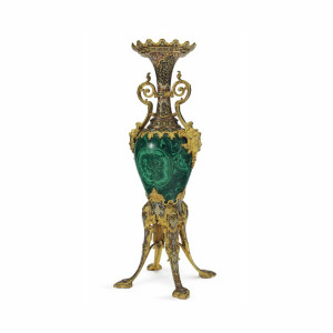 A Magnificent Gilt Bronze, Champlevé and Malachite Vase on Splayed Supports