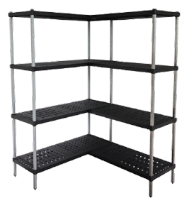 Corner units of Mantova Real Tuff coldroom shelves can be bought online in Coldroom Shelving Brisbane.