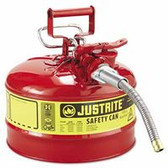 """JUSTRITE 2 1/2 GAL RED SAFETY CANW/5/8"""" DIA HOSE"""