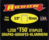 "ARROW FASTENER 50038 T50 3/8"" STAPLES1-1250/PK .050"