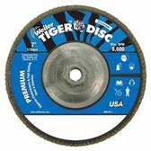 """WEILER 7"""" 40GRIT TIGER ABRASIVEFLAP DISC ANGLED ALUM"""