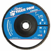 """WEILER 7"""" TIGER PAW ABRASIVE FLAP DISC- ANGLED-40Z-7/8"""""""