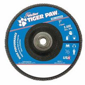 """WEILER 7"""" TIGER PAW ABRASIVE FLAP DISC- ANGLED-80Z-5/8"""""""