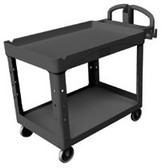 RUBBERMAID COMMERCIAL HD LIPPED 2-SHELF UTILITY CART LARGE
