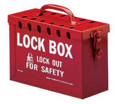 BRADY PORTABLE METAL LOCK BOX- RED