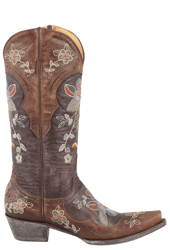OLD GRINGO BONNIE BOOTS IN DISTRESSED BROWN WITH FLORAL EMBROIDERY