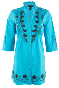 Button-Down Tunic with Embroidery - Front
