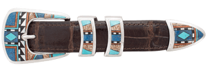 "B.G. Mudd Turquoise and Jasper Square 1"" Buckle Set"