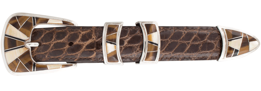 "B.G. Mudd Tiger Eye and Mother of Pearl 1"" Buckle Set"