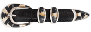 """B.G. Mudd Black Oynx and Mother of Pearl 1"""" Buckle Set"""