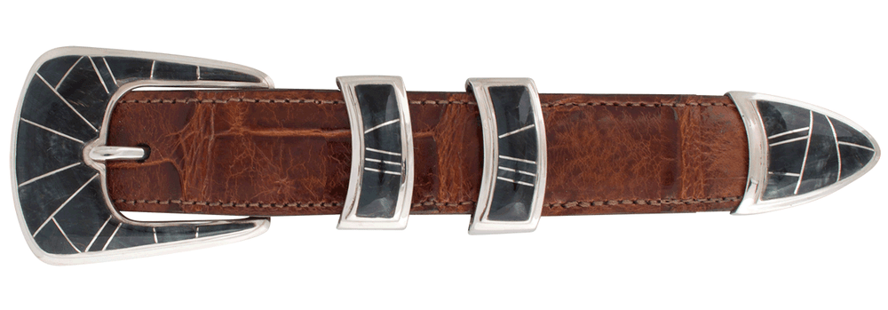 "B.G. Mudd Blue Tiger Eye Geometric 1"" Buckle Set"