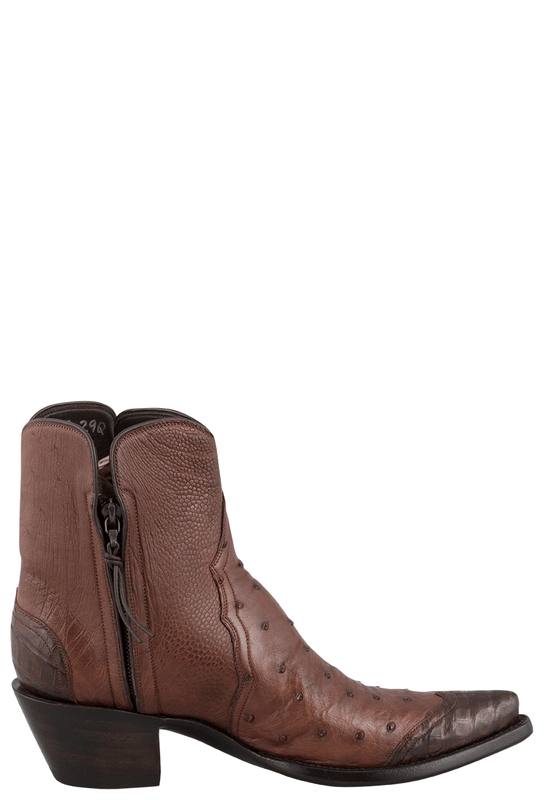 STALLION ZORRO TOBACCO OSTRICH AND CAIMAN WINGTIP ANKLE BOOTS