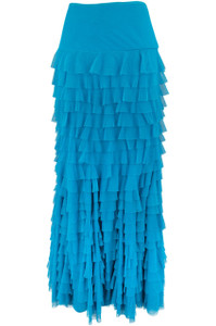 Vintage Collection Mermaid Tiered Mesh Skirt -Turquoise - Front