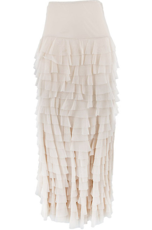 VINTAGE COLLECTION LONG MERMAID TIERED RUFFLE MESH SKIRT
