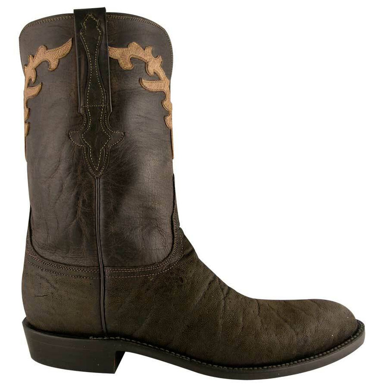 357d9446cbf Lucchese Mens Suede Elephant Roper Boots - Chocolate