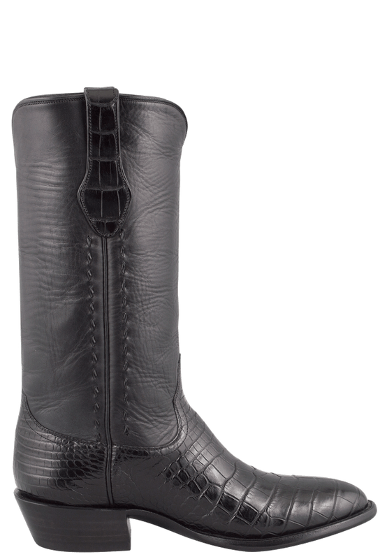 STALLION MEN'S BLACK AMERICAN ALLIGATOR BOOTS