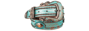 Topaz and Blue Zircon Turquoise Leather Belt