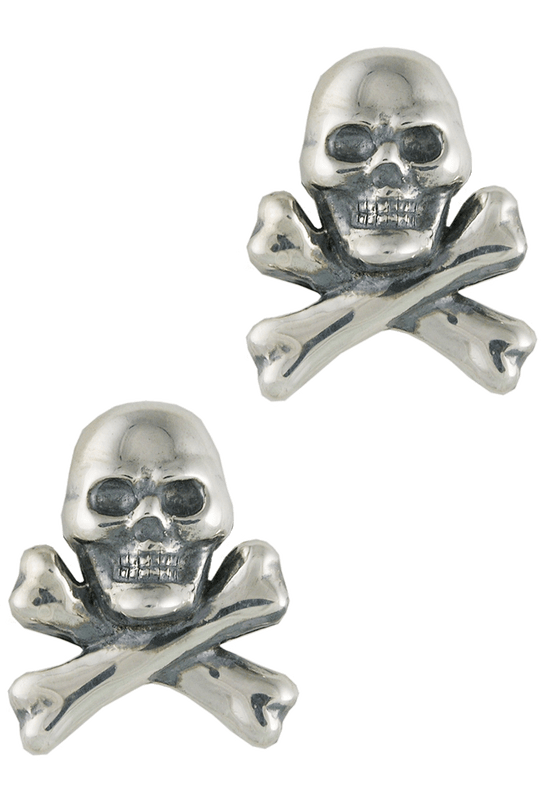 Pinto Ranch Skull and Cross Bones Silver Cufflinks