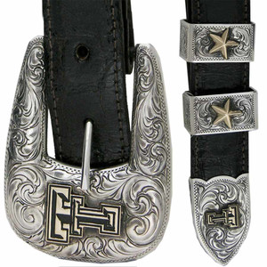 "Texas Tech University Gold and Silver Engraved 1"" Buckle Set"