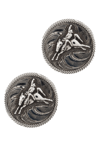 Pinto Ranch Roped Buckaroo Silver Cufflinks - Front
