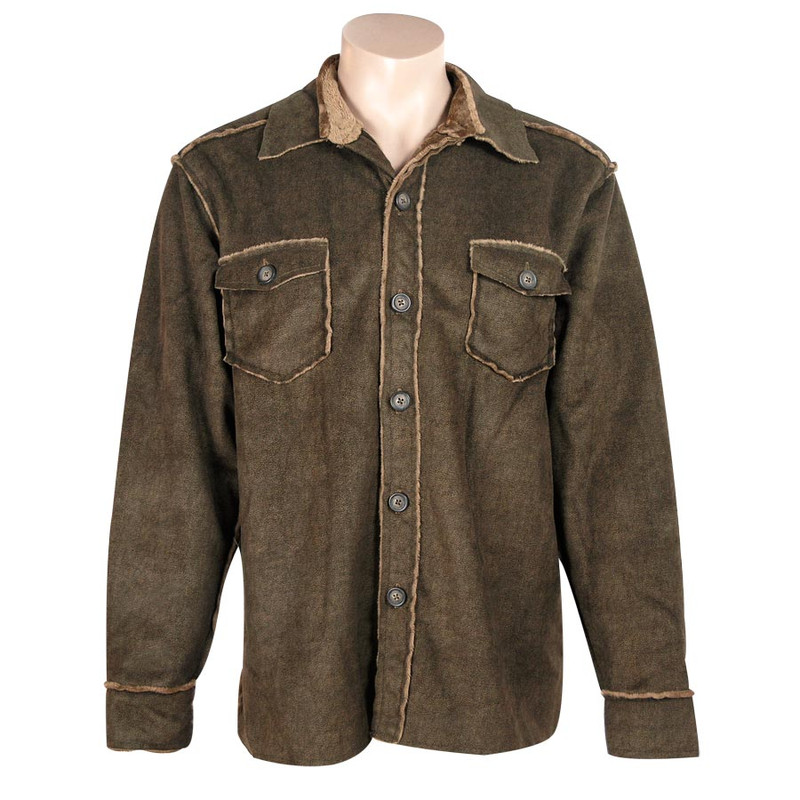 Pebble Sueded Button Down Jacket Brown Pinto Ranch