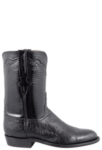 Lucchese Men's Black Smooth Ostrich Roper Boots - Side