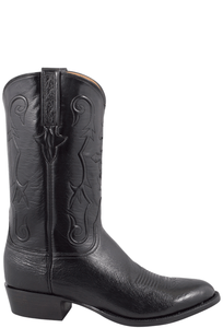 Lucchese Men's Black Smooth Ostrich Boots - Side