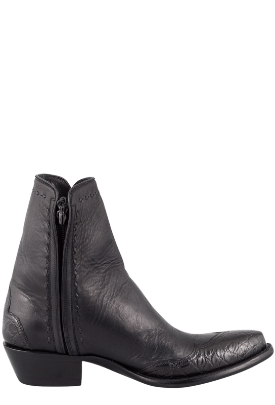 STALLION MEN'S ZORRO BLACK GATOR ANKLE BOOTS