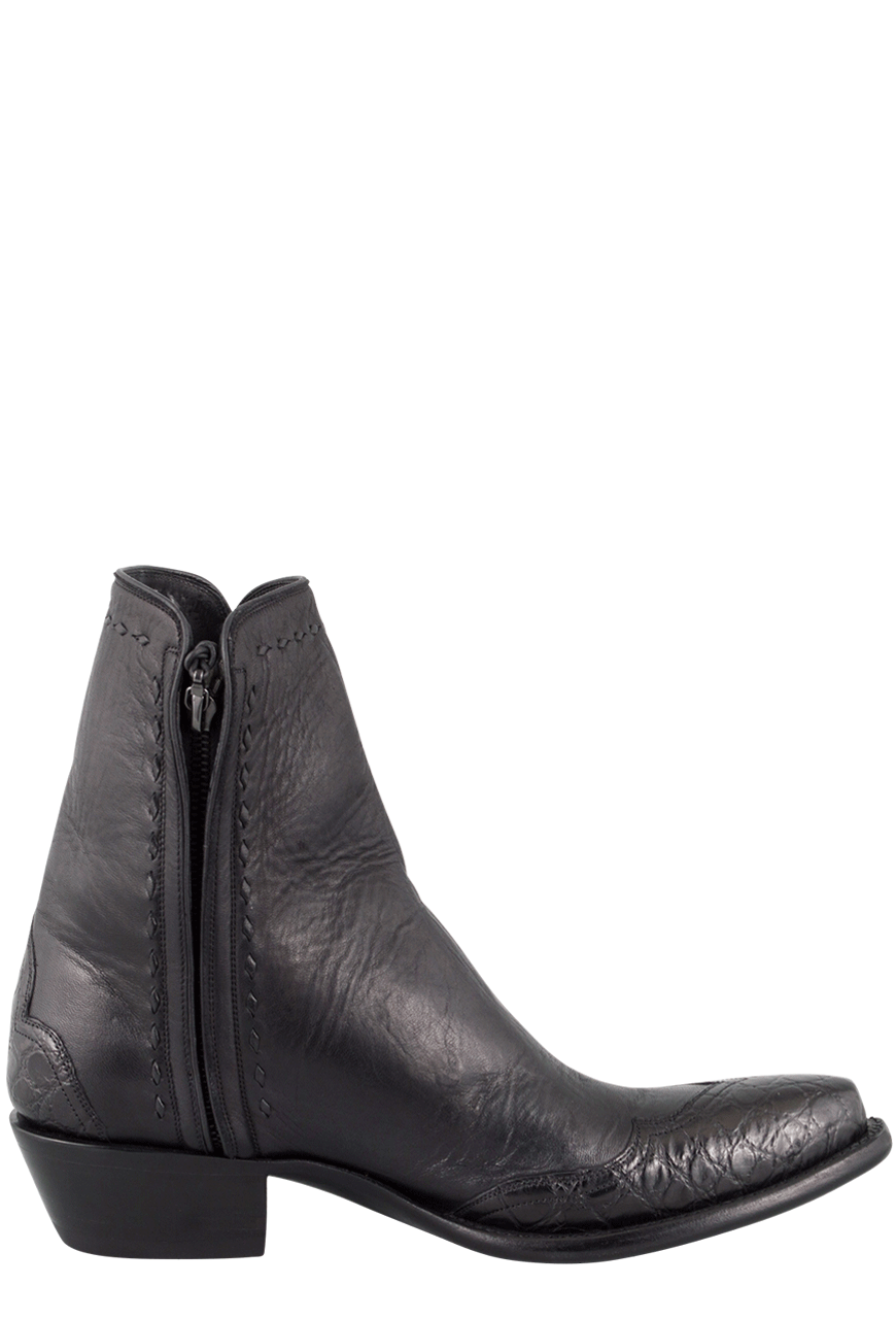 efa2d034cb7 Stallion Men's Zorro Black Gator Ankle Boots