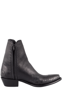 Stallion Men's Zorro Black Gator Ankle Boots - Side