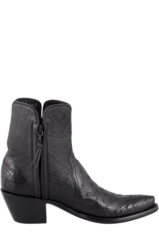 STALLION WOMEN'S ZORRO BLACK OSTRICH AND CAIMAN ANKLE BOOTS