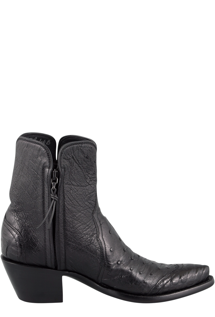 cab5ffb612f Stallion Women's Zorro Black Ostrich and Caiman Ankle Boots