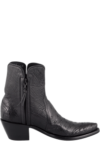 Stallion Women's Zorro Black Ostrich and Caiman Ankle Boots - Side