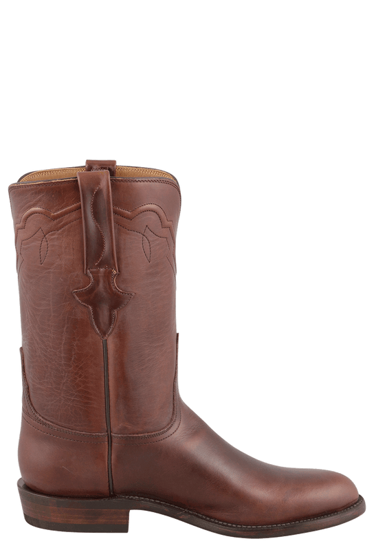 LUCCHESE OILED CHOCOLATE BROWN ROPER BOOTS