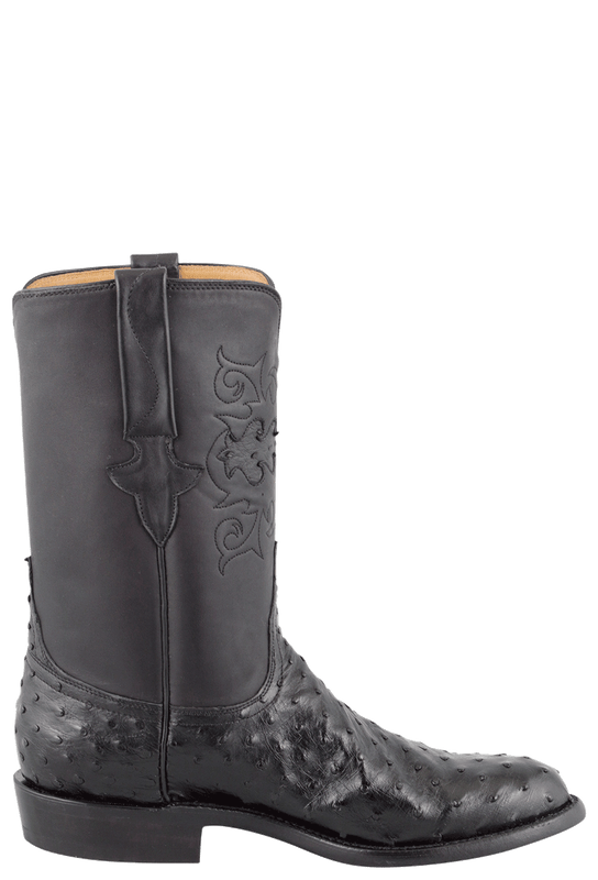 LUCCHESE BLACK FULL-QUILL OSTRICH ROPER BOOTS