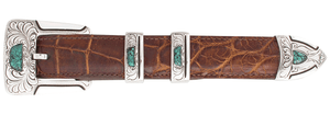 "Chacon Gila Feathered Turquoise 1"" Buckle Set"