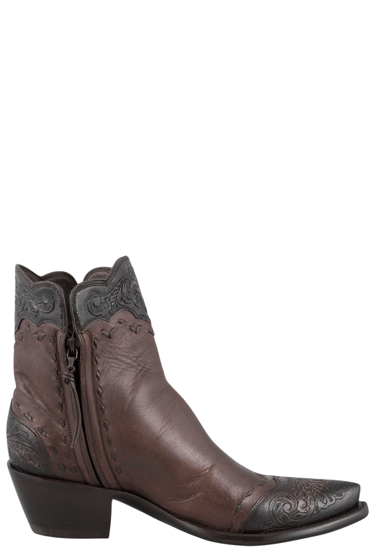 STALLION WOMEN'S ZORRO TAN AND CHOCOLATE TOOLED ANKLE BOOTS