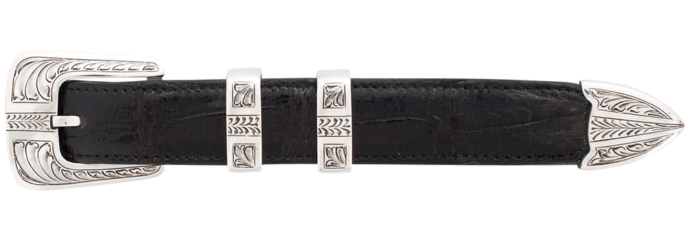 "Chacon Arrow Feathered Engraved 1"" Buckle Set"