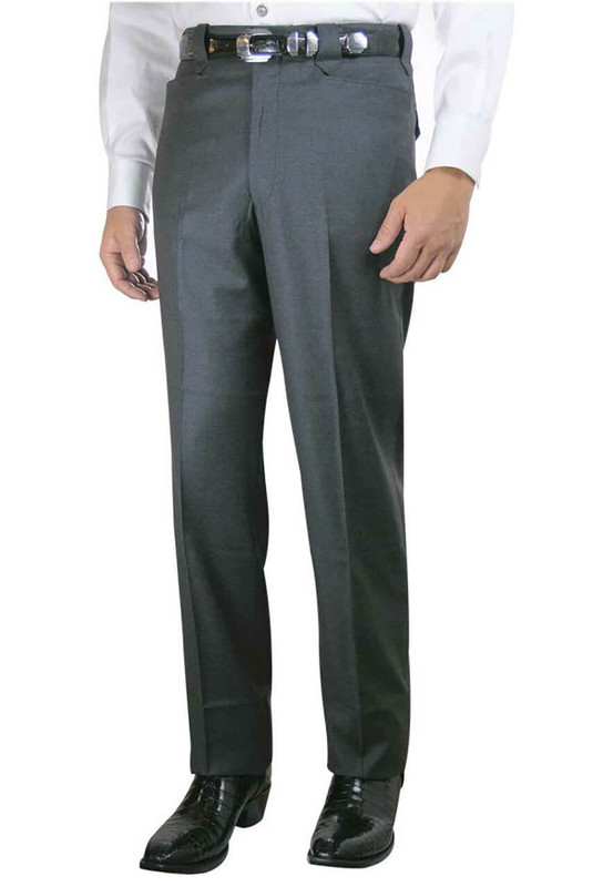 Luxury Plain Front Western Dress Slacks - Medium Gray - Front
